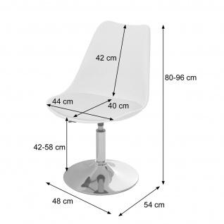 Drehstuhl Malmö T501, Stuhl Küchenstuhl, höhenverstellbar, Kunstleder ~ weiß, Chromfuß - Vorschau 4