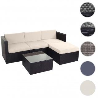 Poly-Rattan-Garnitur HWC-D28, Gartengarnitur Sofa Set ~ braun, Polster creme ohne Deko-Kissen/Abdeckung