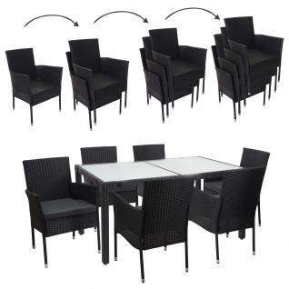 Poly-Rattan Garnitur HWC-F49, Gartengarnitur Sitzgruppe, stapelbar 150x90cm anthrazit, Kissen dunkelgrau