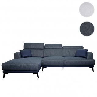 Sofa HWC-G44, Couch Ecksofa L-Form 3-Sitzer, Liegefläche Nosagfederung Taschenfederkern verstellbar ~ links, dunkelgrau