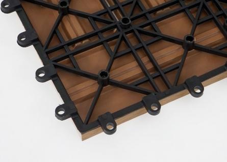 WPC Bodenfliese Rhone, Holzoptik Balkon/Terrasse, 11x je 30x30cm = 1qm ~ Basis, teak versetzt - Vorschau 2