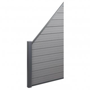 WPC-Sichtschutz Sarthe, Windschutz Zaun, Alu-Pfosten ~ Erweiterungselement schräg links, 0, 95m grau