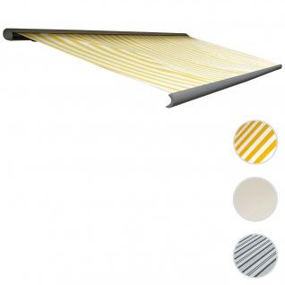 Elektrische Kassettenmarkise T122, Markise Vollkassette 4x3m ~ Polyester Gelb/Weiß, Rahmen aluminium