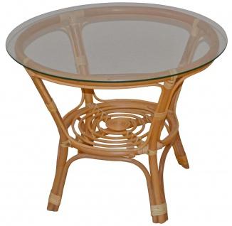 Rattantisch H135, Tisch Beistelltisch Wohnzimmertisch Couchtisch, honigfarben, 57x70x70cm