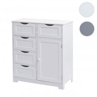 Kommode HWC-B65, Schubladenschrank Schrank, 5 Schubladen und 1 Tür 80x70x35cm ~ weiß