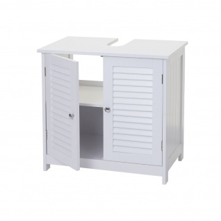 Badezimmerset HWC-F75, Badmöbel-Set Hochschrank Waschbeckenunterschrank Kommode Wandspiegel, Landhaus weiß - Vorschau 4