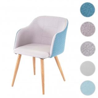 Esszimmerstuhl HWC-D71, Stuhl Küchenstuhl, Retro Design, Armlehnen Stoff/Textil ~ hellgrau-türkis