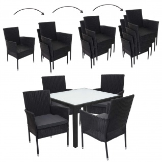 Poly-Rattan Garnitur HWC-F49, Gartengarnitur Sitzgruppe, stapelbar 90x90cm anthrazit, Kissen dunkelgrau