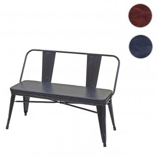 2er Sitzbank HWC-H10, Zweisitzer Garderobenbank Esszimmerbank Industrie-Design Vintage Kunstleder ~ schwarz-grau
