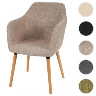 Esszimmerstuhl Malmö T381, Stuhl Küchenstuhl, Retro 50er Jahre Design ~ Textil, creme/grau, helle Beine