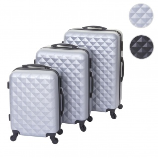 3er Set Koffer HWC-D54b, Reisekoffer Hartschalenkoffer Trolley Handgepäck, Höhe 72/60/50cm grau, Standard