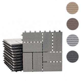 WPC Bodenfliese Rhone, Holzoptik Balkon/Terrasse, 11x je 30x30cm = 1qm ~ Premium, grau Vierecke