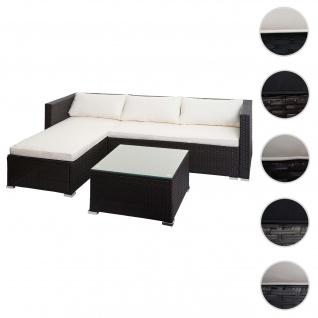 Poly-Rattan Garnitur HWC-F57, Balkon-/Garten-/Lounge-Set Sofa Sitzgruppe ~ braun, Kissen creme ohne Deko-Kissen