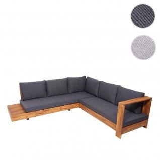 Gartengarnitur HWC-H59, Lounge-Set Sofa Sitzgruppe, Massiv-Holz Akazie Spun Poly ~ Kissen dunkelgrau