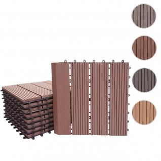 WPC Bodenfliese Rhone + Abschluss, Holzoptik Balkon/Terrasse, 11x je 30x30cm = 1qm Premium ~ coffee linear senkrecht