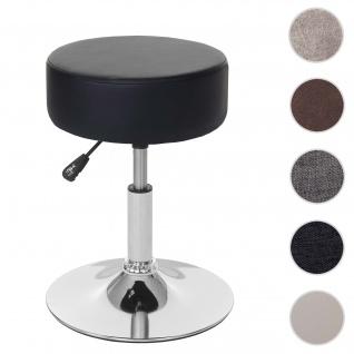 Hocker HWC-C22, Sitzhocker Schminkhocker, höhenverstellbar Ø 35cm ~ Kunstleder, schwarz