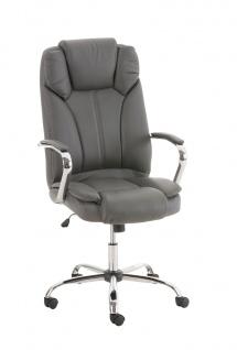 Bürostuhl CP519, Chefsessel Drehstuhl, US-Version, 150kg belastbar, Kunstleder ~ grau