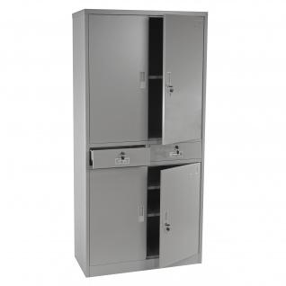 Aktenschrank Boston T132, Metallschrank Büroschrank, 51kg 4 Türen 2 Schubladen 180x85x40cm grau