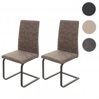 2x Esszimmerstuhl HWC-F27, Freischwinger Küchenstuhl, Kunstleder ~ Wildleder-Optik braun, Gestell schwarz