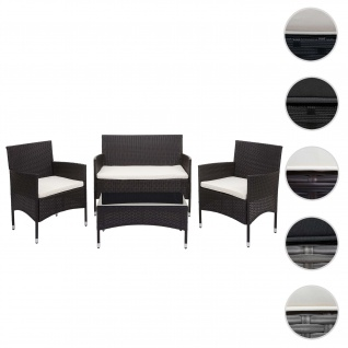 Poly-Rattan Garnitur HWC-F55, Balkon-/Garten-/Lounge-Set Sofa Sitzgruppe ~ braun, Kissen creme