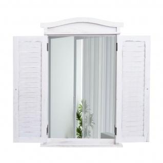 Wandspiegel Badspiegel Badezimmer Spiegelfenster mit Fensterläden, 71x46x5cm ~ shabby weiß - Vorschau 3