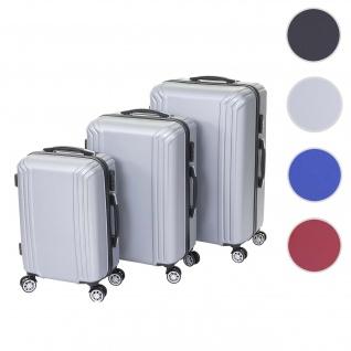 3er Set Koffer HWC-D54a, Reisekoffer Hartschalenkoffer Trolley Handgepäck, Höhe 72/60/50cm ~ grau, Premium