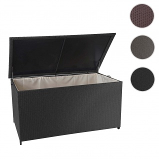 Poly-Rattan Kissenbox HWC-D88, Gartentruhe Auflagenbox Truhe ~ Premium schwarz, 80x160x94cm 950l