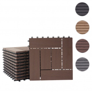 WPC Bodenfliese Rhone, Holzoptik Balkon/Terrasse, 11x je 30x30cm = 1qm ~ Premium, coffee versetzt