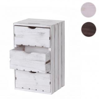 Kommode HWC-C62, Schubladenkommode Holzkiste, Shabby-Look Vintage 3 Schubladen 53x32x26cm ~ weiß