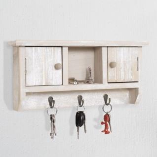 Schlüsselbrett HWC-A48, Schlüsselkasten Schlüsselboard mit Türen, Massiv-Holz ~ shabby beige - Vorschau 2