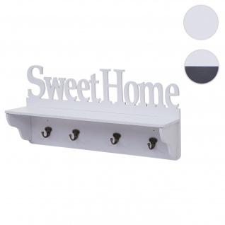 Wandgarderobe HWC-D41 Sweet Home, Garderobe Regal, 4 Haken massiv 30x60x13cm ~ weiß