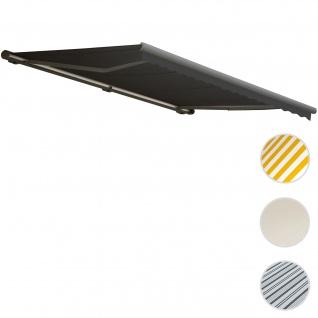 Elektrische Kassetten-Markise T122, Vollkassette Volant 4x3m ~ Polyester Anthrazit, grau