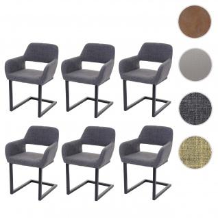 6x Esszimmerstuhl HWC-A50 II, Freischwinger Stuhl Küchenstuhl, Retro 50er Jahre Design Stoff, grau