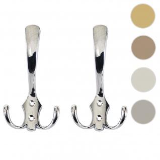 2x Garderobenhaken HWC-D46, Haken Wandhaken Kleiderhaken Set ~ Farbe: silber