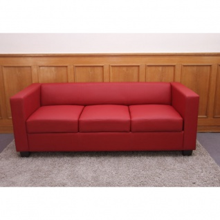 3er Sofa Couch Loungesofa Lille, Leder ~ rot