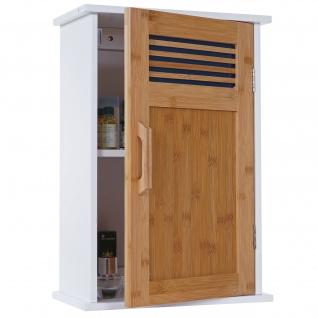 Hängeschrank HWC-A85, Badschrank Wandschrank Bambus, 52x35x21cm weiß