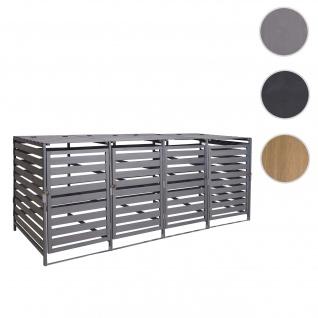 XL 4er-/8er-Mülltonnenverkleidung HWC-H62, Mülltonnenbox, erweiterbar 110x65x93cm Massiv-Holz ~ hellgrau