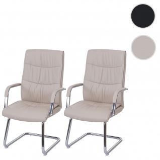 2x Konferenzstuhl HWC-A49, Besucherstuhl Freischwinger, Kunstleder creme - Vorschau 1