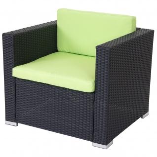 Modulares Poly-Rattan Sofa ROM Basic, Sessel Loungesessel, Alu anthrazit, Kissen grün