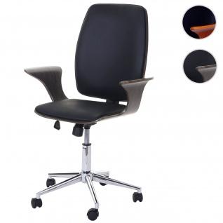 Bürostuhl HWC-C54, Chefsessel Drehstuhl, Bugholz Kunstleder Grau, Sitzfläche schwarz