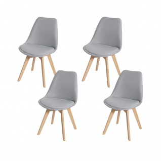 4x Esszimmerstuhl HWC-E53, Stuhl Küchenstuhl, Retro Design Stoff/Textil grau, helle Beine