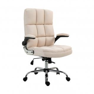 Bürostuhl HWC-J21, Chefsessel Drehstuhl Schreibtischstuhl, höhenverstellbar ~ Stoff/Textil creme-beige - Vorschau 2