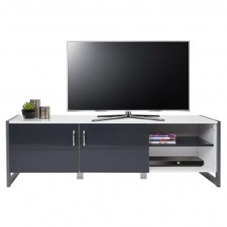TV-Rack HWC-B27, Fernsehtisch Lowboard, Hochglanz 140x45x40cm, weiß/grau