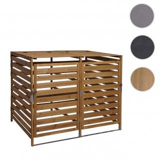 XL 2er-/4er-Mülltonnenverkleidung HWC-H62, Mülltonnenbox, erweiterbar 110x65x93cm Massiv-Holz ~ braun