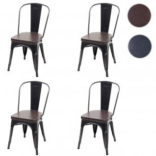4x Esszimmerstuhl HWC-H10e, Küchenstuhl Stuhl, Chesterfield Metall Kunstleder Industrial Gastronomie ~ schwarz-braun