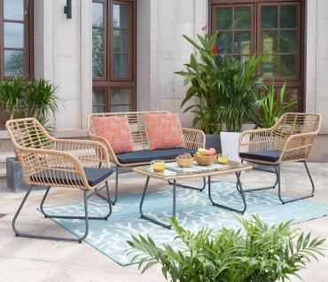 Polyrattan Garnitur HWC-G17a, Gartengarnitur Sofa Set Sitzgruppe ~ naturfarben, Polster anthrazit mit Dekokissen - Vorschau 2
