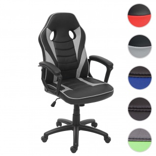 Bürostuhl HWC-F59, Schreibtischstuhl Drehstuhl Racing-Chair Gaming-Chair, Kunstleder ~ schwarz/grau