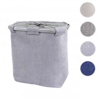 Wäschesammler HWC-C34, Laundry Wäschebox Wäschekorb Wäschebehälter mit Netz, 2 Fächer 56x49x30cm 82l ~ cord grau