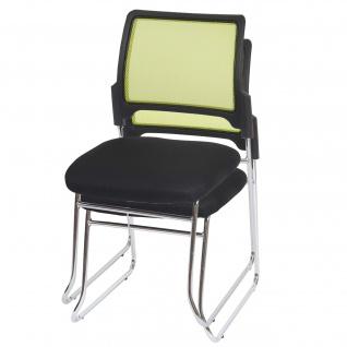 2x Konferenzstuhl, Stoff/Textil Sitz schwarz, Rückenlehne grün