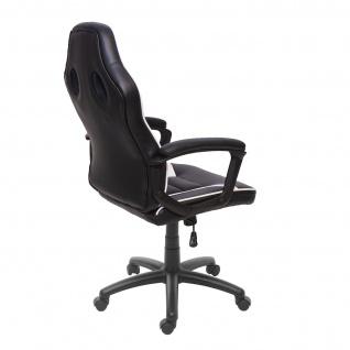 Bürostuhl HWC-F59, Schreibtischstuhl Drehstuhl Racing-Chair Gaming-Chair, Kunstleder ~ schwarz/weiß - Vorschau 4